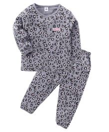 ToffyHouse Full Sleeves Printed Night Suit - Grey