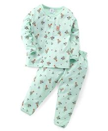 ToffyHouse Full Sleeves Night Suit Teddy Printed Nightsuit - Light Green