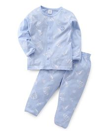 ToffyHouse Full Sleeves Night Suit Teddy Printed Night Suit - Light Blue
