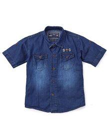 Jash Kids Half Sleeves Denim Shirt - Dark Blue