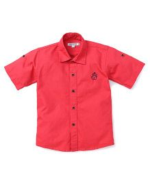 Jash Kids Half Sleeves Shirt Bear Embroidery - Pink