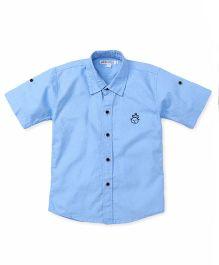 Jash Kids Half Sleeves Shirt Bear Embroidery - Sky Blue