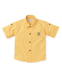 Jash Kids Half Sleeves Shirt Bear Embroidery - Mustard Yellow