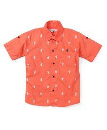 Jash Kids Half Sleeves Printed Shirt - Orange