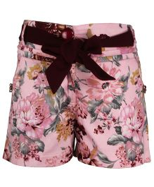 Cutecumber Floral Print Shorts With Fabric Belt - Pink