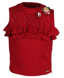 Cutecumber Sleeveless Top with Floral Applique - Dark Red