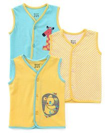 Ohms Vests Multi Print Pack Of 3 - Green Yellow