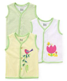 Ohms Vests Multi Print Pack Of 3 - Yellow White Green
