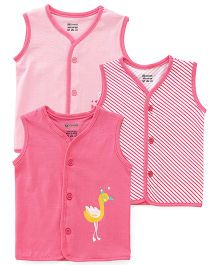 Ohms Vests Multi Print Pack Of 3 - Pink