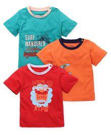 Ohms Half Sleeves Printed T-Shirt Set Of 3 - Green Orange Red