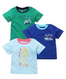 Ohms Half Sleeves Printed T-Shirt Set Of 3 - Green Royal Blue Blue