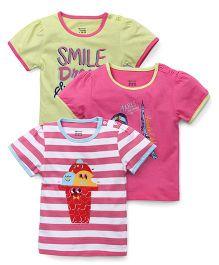 Ohms Short Sleeves Top Multi Print Pack of 3 - Pink Green