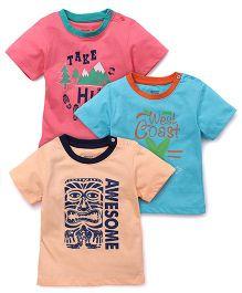 Ohms Half Sleeves Printed T-Shirt Set Of 3 - Coral Blue Light Orange