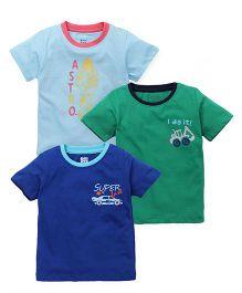 Ohms Half Sleeves Printed T-Shirt Set Of 3 - Blue Green Royal Blue