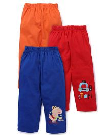 Ohms Full Length Leggings Set Of 3 - Blue Red Orange