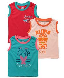 Ohms Sleeveless Printed T-Shirt Set Of 3 - Red Peach Green