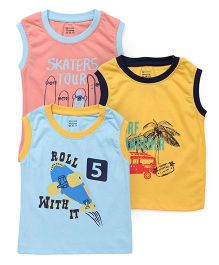 Ohms Sleeveless Tee Printed Pack Of 3 - Peach Blue Yellow