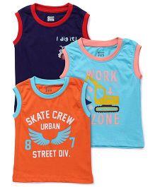 Ohms Sleeveless Printed T-Shirt Set Of 3 - Orange Navy And Sky Blue