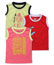 Ohms Sleeveless Printed T-Shirt Pack Of 3 - Green Red Pink