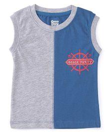 Ohms Sleeveless T-Shirt Beach Party Print - Grey Blue