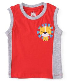 Ohms Sleeveless T-Shirt Lion Print - Red