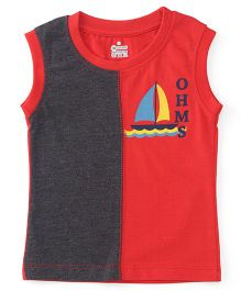 Ohms Sleeveless T-Shirt Boat Print - Red Grey