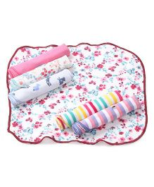Ohms Printed Hand & Face Towels Pack Of 6 - Multi Color