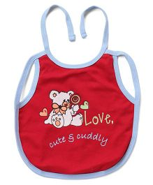 Ohms Tie Up Bib Teddy Print - Red