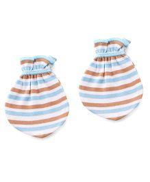 Ohms Mittens Stripes Print - Brown Blue