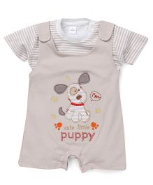 Olio Kids Dungaree Style Romper With T-Shirt Puppy Patch - Beige
