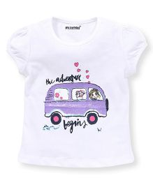 E-Todzz Short Sleeves Tee With The Adventure Begins Print - White
