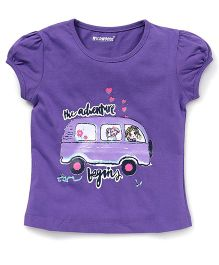 E-Todzz Short Sleeves Tee With The Adventure Begins Print - Purple
