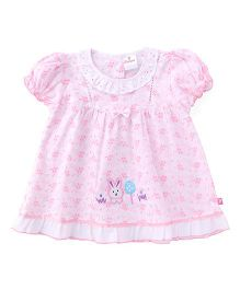 Chocopie Puff Sleeves Frock Bow Applique - White Pink