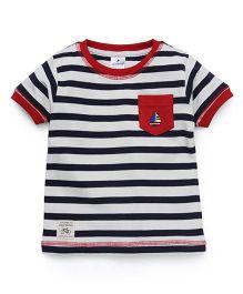 Ollypop Half Sleeves T-Shirt Stripes Print - Navy Blue White