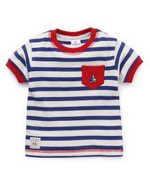 Ollypop Half Sleeves T-Shirt Stripes Print - Royal Blue White