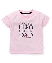 Ollypop Half Sleeves T-Shirt Caption Print - Pink