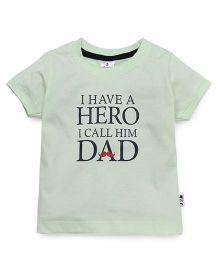Ollypop Half Sleeves T-Shirt Caption Print - Pista Green