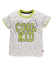 Ollypop Half Sleeves T-Shirt Cool Kid Print - Cream Green