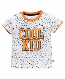 Ollypop Half Sleeves T-Shirt Cool Kid Print - White Orange