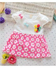 Superfie Short Sleeves Flower Print - Pink White