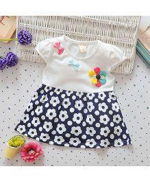 Superfie Short Sleeves Flower Print - Navy White