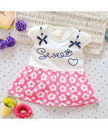 Superfie Short Sleeves Dress Floral Printed - Pink White