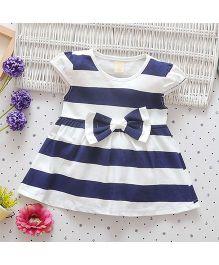 Superfie Short Sleeves Summer Dress Stripes Print - Blue