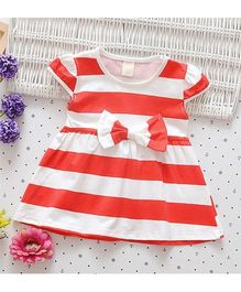 Superfie Short Sleeves Summer Dress Stripes Print - Red