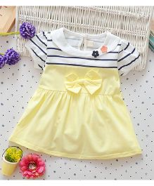 Superfie Summer Dress With Bow Applique - Yellow