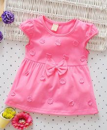 Superfie Short Sleeves Dress With Flower & Bow Applique - Pink