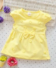 Superfie Short Sleeves Dress With Flower & Bow Applique - Yellow