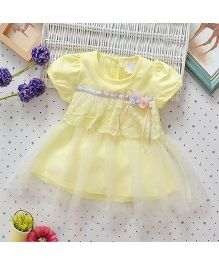 Superfie Short Sleeves Dress Floral Applique With Net Frill - Yellow