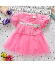 Superfie Short Sleeves Dress Floral Applique With Net Frill - Pink