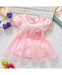 Superfie Short Sleeves Dress Floral Applique With Net Frill - Light Pink
